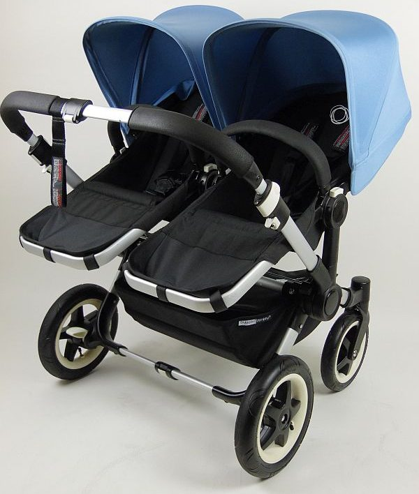 Bugaboo® Donkey Duo Kinderwagen - Zwart/IJsblauw