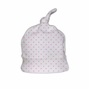 Babymutsje Katoen met knoop - Polka Dots Roze