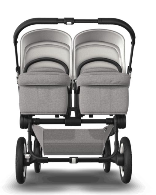 Bugaboo® donkey twin kinderwagen - zwart - mineral light grey