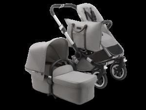 Bugaboo® donkey 2 mono kinderwagen - alu/mineral light grey